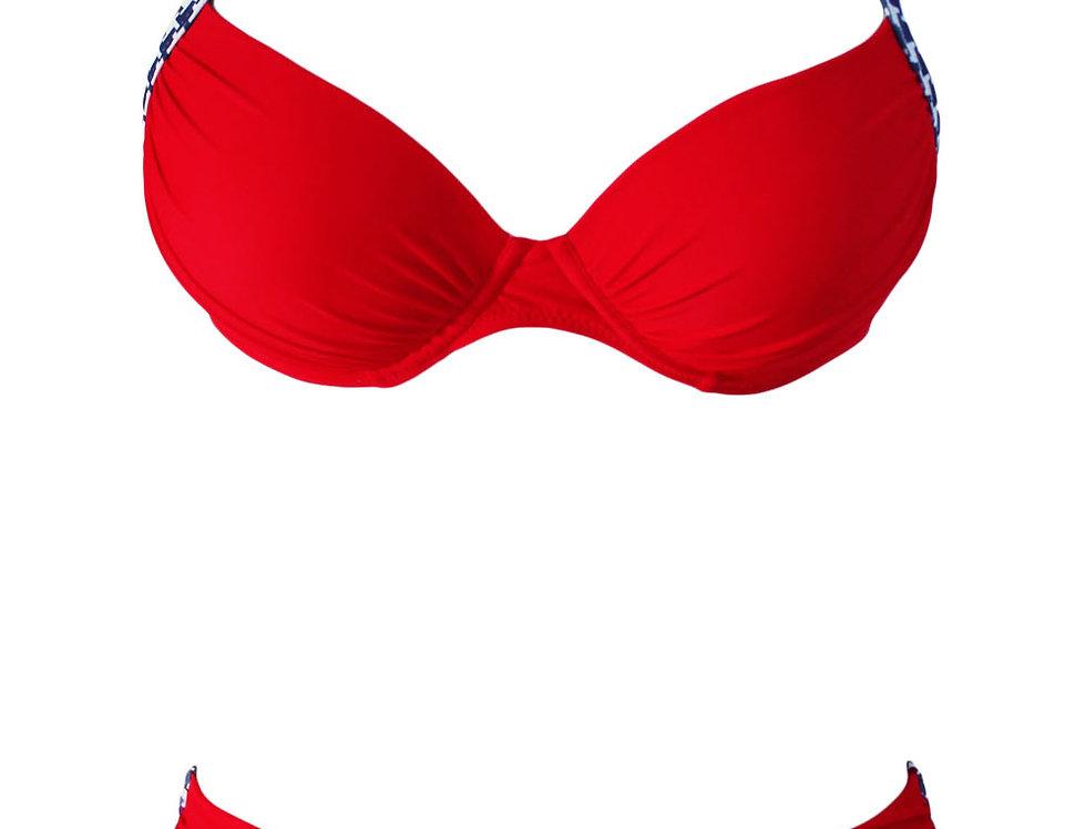 Ella Red Checked Print Push Up Bikini Set