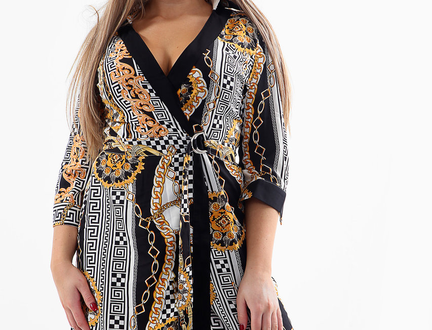 SALE odie Asymmetric Belted Versace Print Shirt Dress