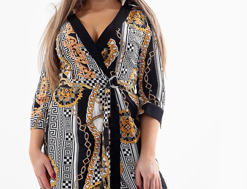 SALE Jodie Asymmetric Belted Versace Print Shirt Dress