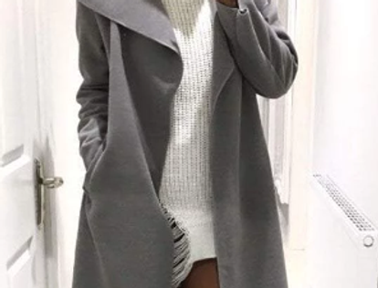 SALE Grey Italian Waterfall Belted Wrap Trench Coat