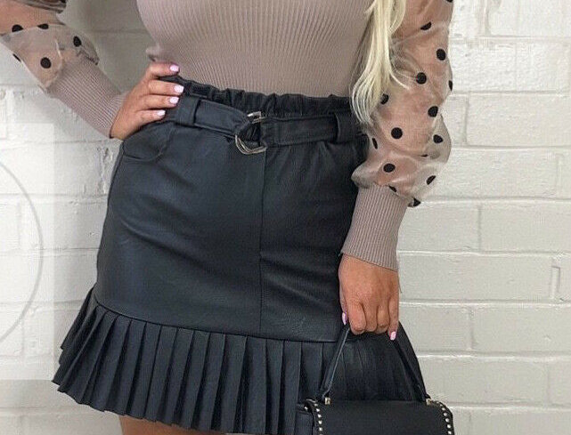 Jody Faux Leather Frill Belted Mini Skirt