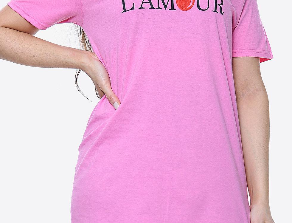 Lamour Cherry Print Slogan T-shirt