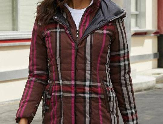 Bathan Brown Checked Quilted Hooded Coat