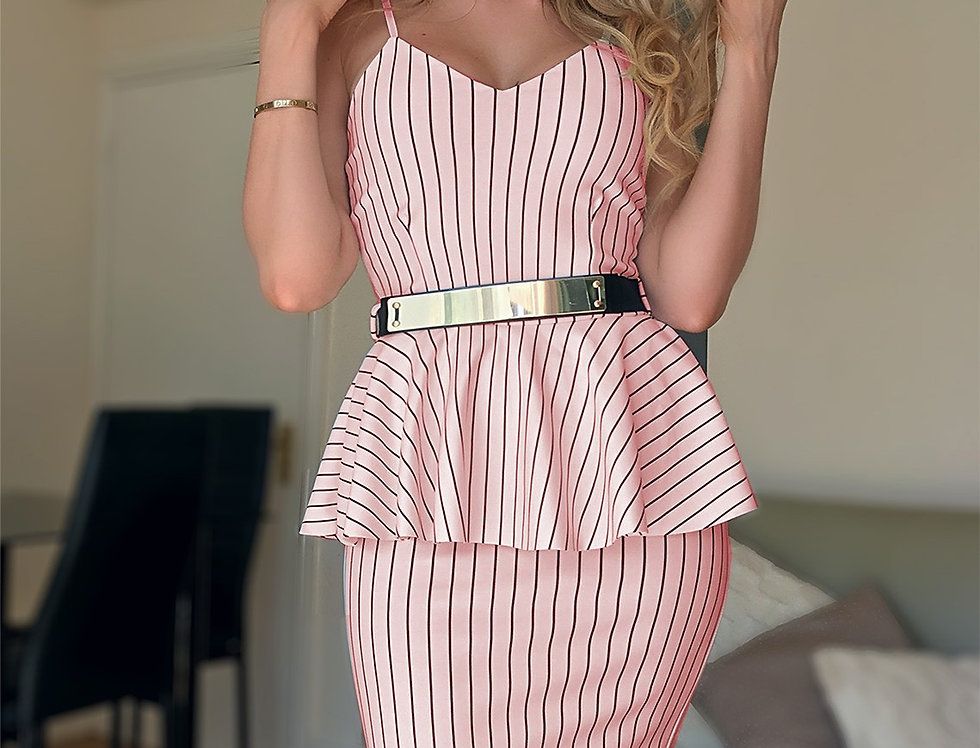 Linda Baby Pink Pinstripe Belted Peplum Midi Dress