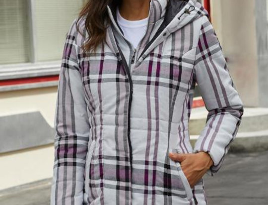 Bathan Checked Quilted Hooded Coat
