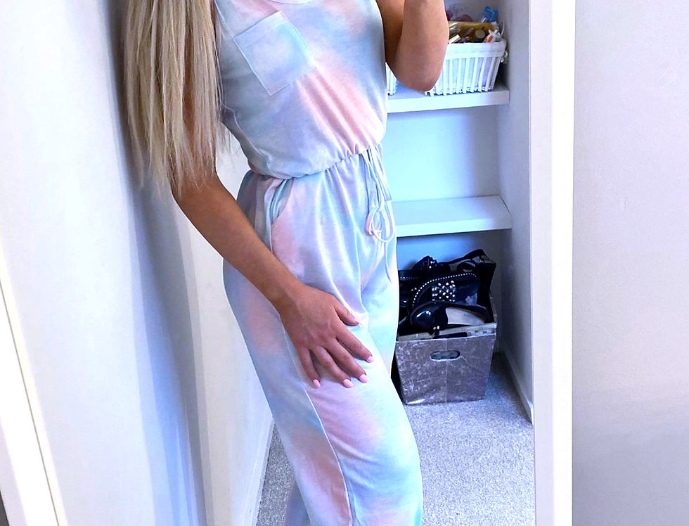 Flo Tie Dye Drawstring Jumpsuit