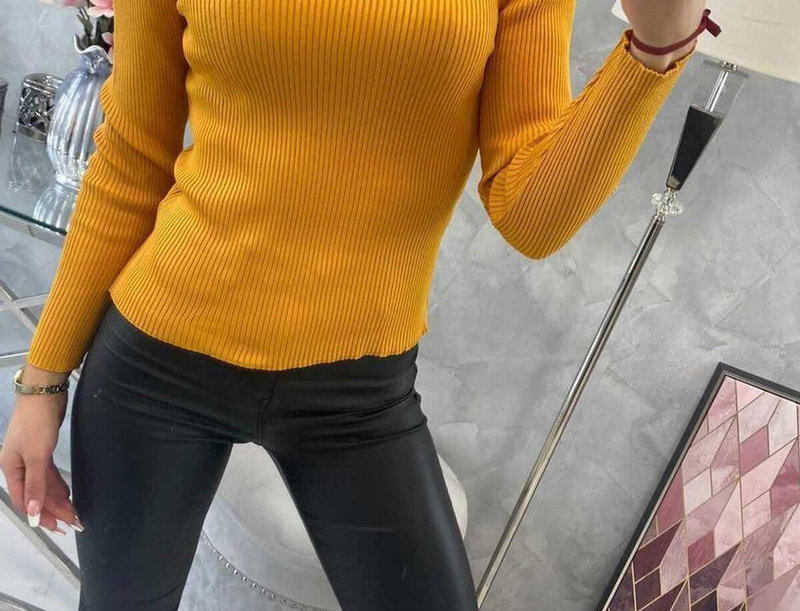 Mulan High Neck Ribbed Sweater Top