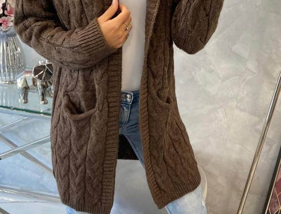 Alice Hooded Thick Knitted Trench Cardigan With Pockets