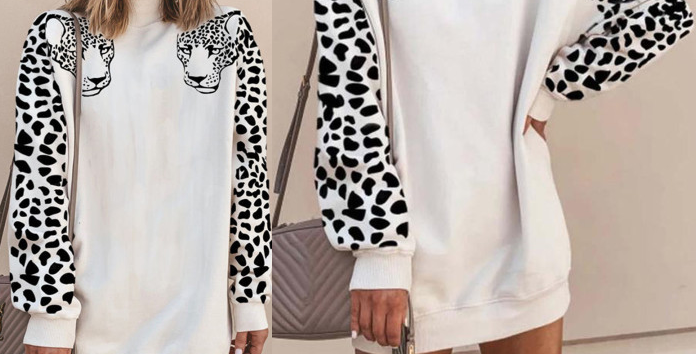 Sona White Leopard Print Sweater Dress