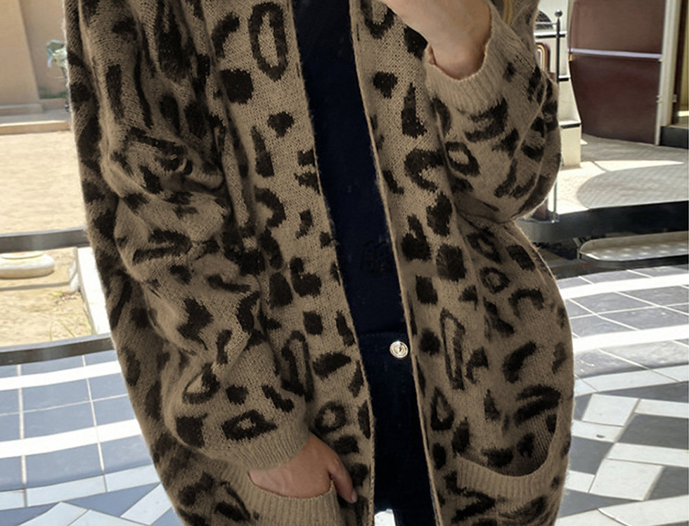 Maizey Pocketed Leopard Print Cardigan