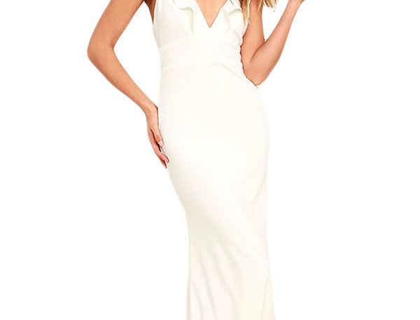 Hazle White Evening Ruffle Maxi Evening Dress