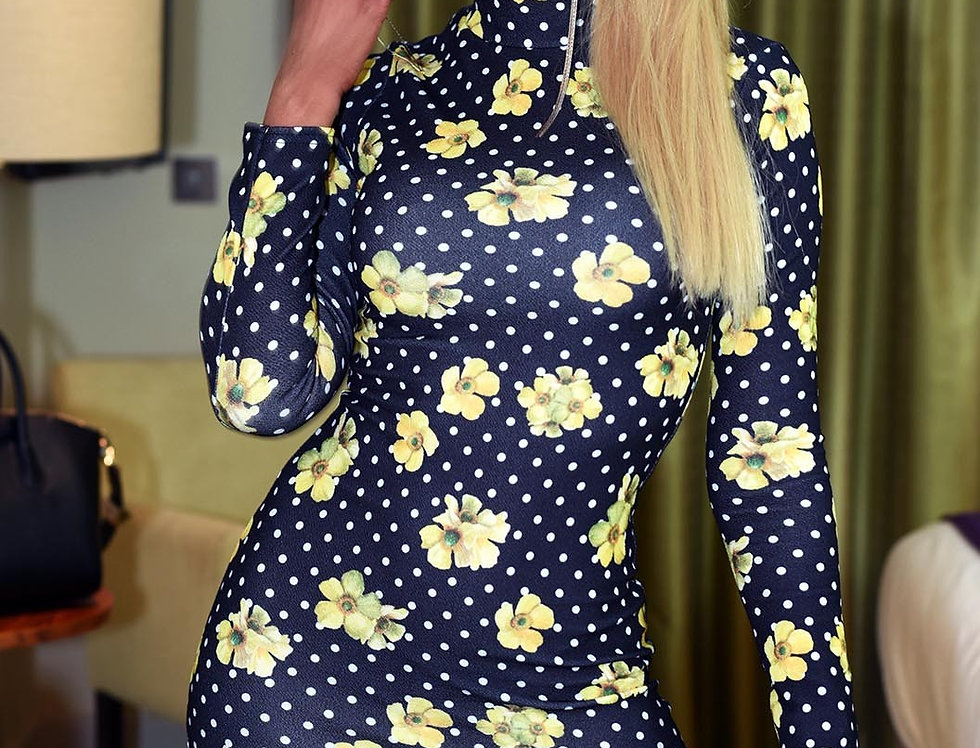 Freya Polka Dot Floral Bodycon Dress