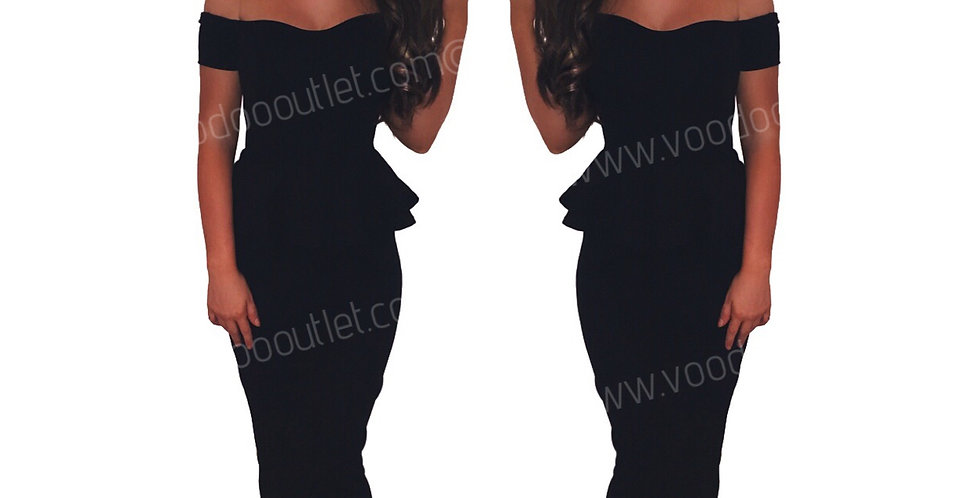 Scarlet Black Sweetheart Peplum Evening Maxi Dress