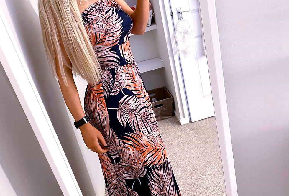 Tamsyn Orange  Printed Bohemian Boho Pocketed Maxi Dress