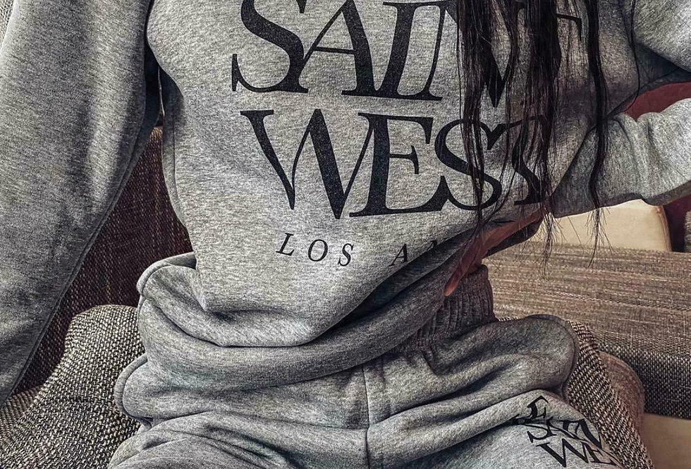 St West Slogan Grey Tracksuit Co Ord Set
