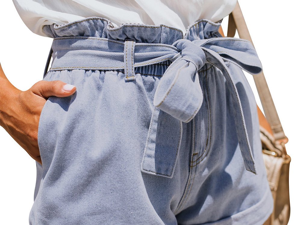 Cher Paper Bag Denim Shorts