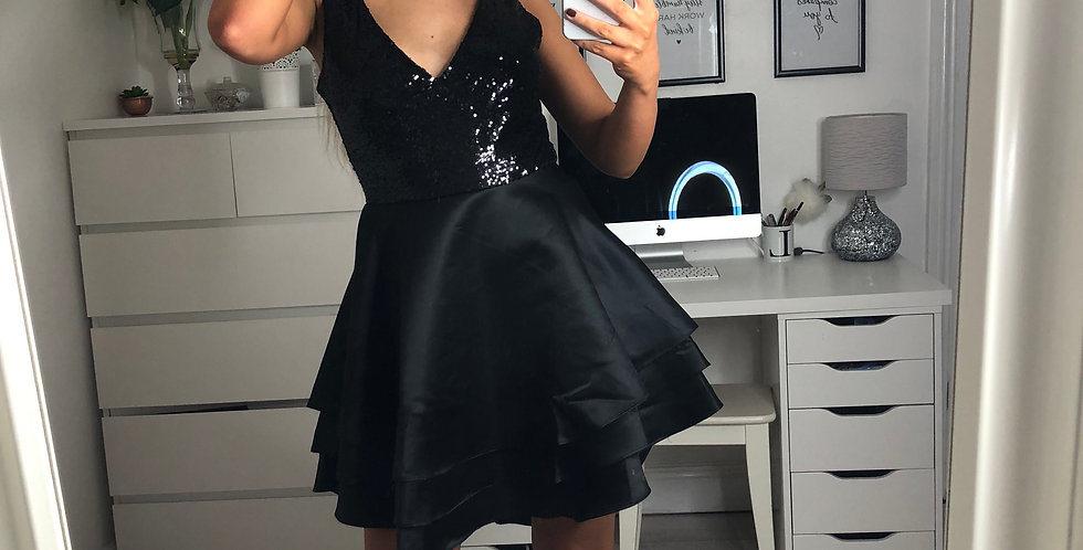 Toria Black Sweetheart Satin Layered Frill Sequin Skater Dress