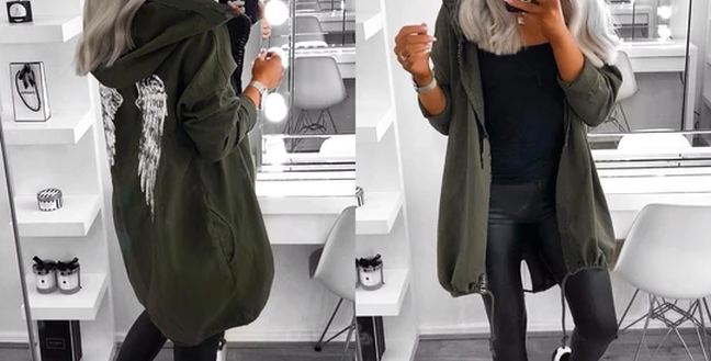 Angel  Sequin Wings Hooded Trench Jacket ONLY £22.40 WITH CODE LOCKDOWN21