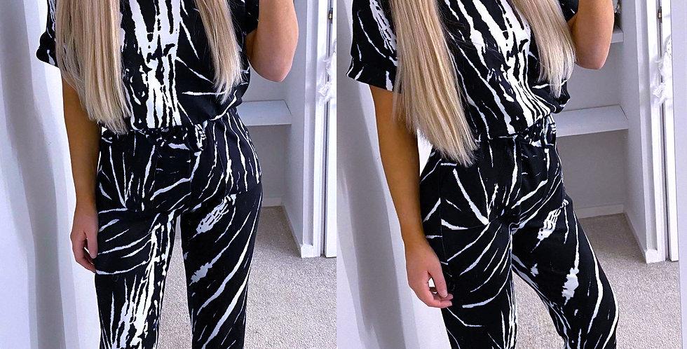 Zara Pocketed Tie Dye Drawstring Jumpsuit