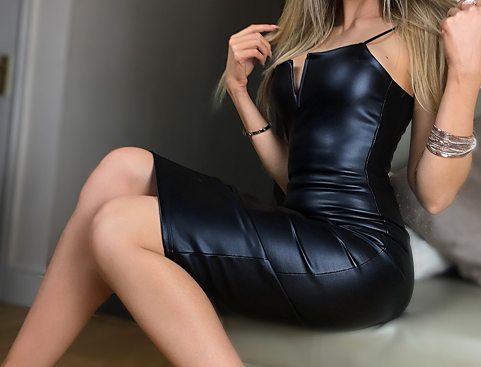 Tiffany Wet Leather Look Midi Dress