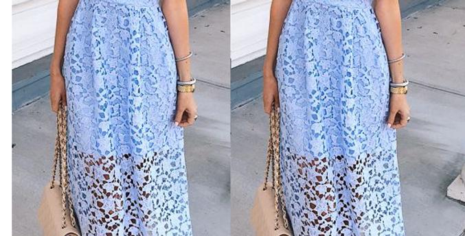 Macy Baby Blue Crochet Midi Dress