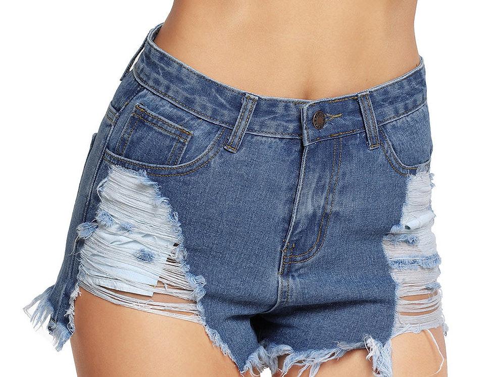 Light Blue Denim Frayed Destroyed Shorts