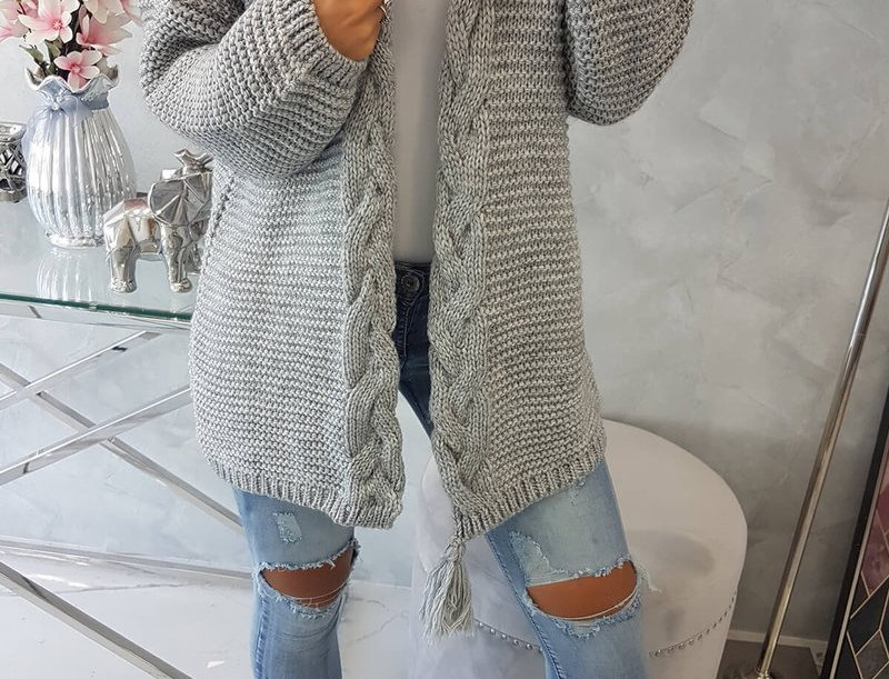 Lorin Braided Pom Knitted Cosy Cardigan