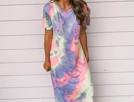Rona Boho Loose Fit Split Leg Tie Dye Print Maxi Dress