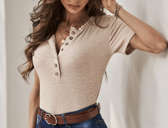 Hardey Button Up Basic Knitted Top