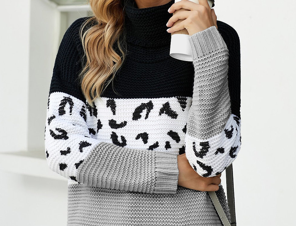 Moira Contrasted Leopard Polo Knitted Jumper