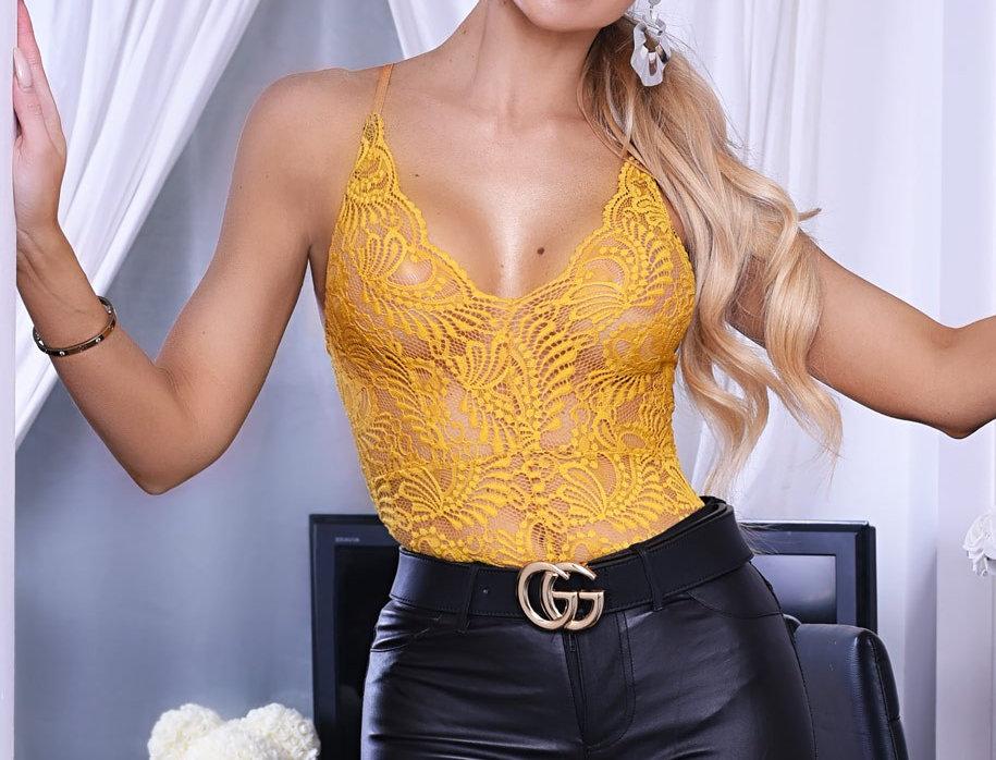 Taylor Mustard Lace Plunge Bodysuit