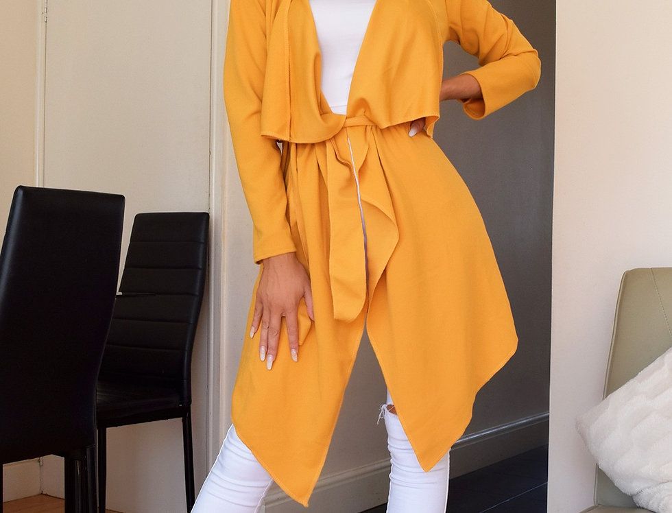 Annabelle Mustard Belted Waterfall Jacket