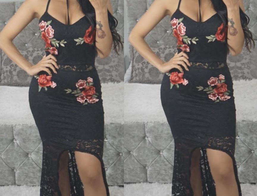 Mandy Rose Embroidered Lace Choker Dress