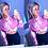 Thumbnail: Francine  Blue  Tie Dye Button Up Shirt Blouse