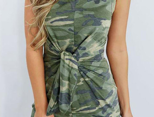 Kia Army Camo Twist Bodycon Mini Dress