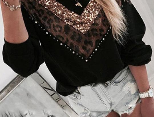 Debbie Sequin Embellished Contrasted Leopard Print Sweater