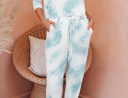 Robyn  Mint  Tie Dye Lounge Tracksuit Set