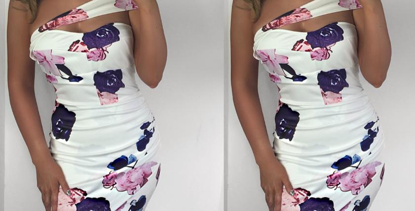 Natalie Asymmetrical Floral Midi Dress