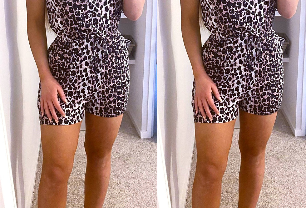 Bella Leopard Pocketed Button Up Playsuit