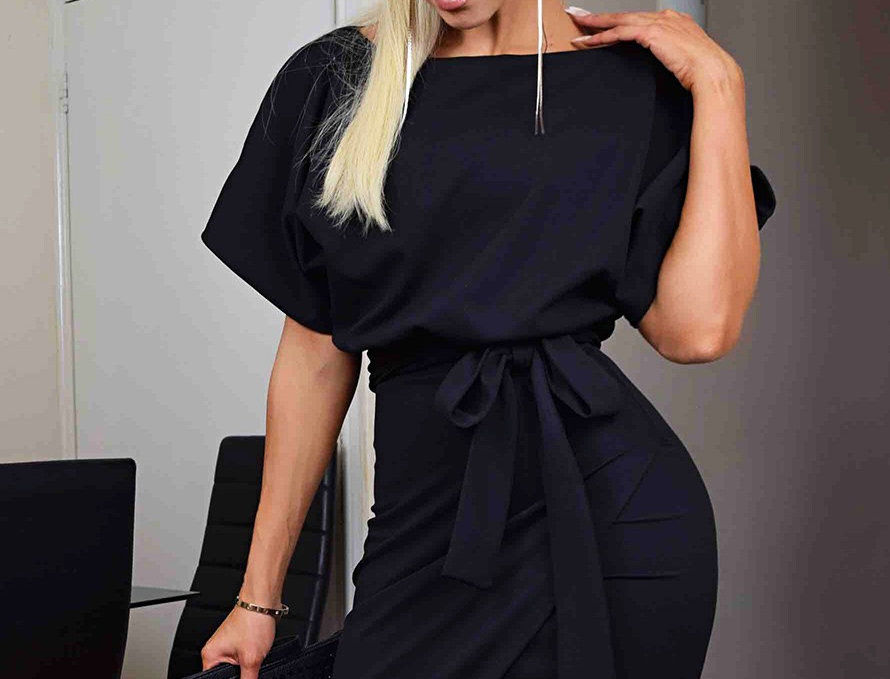 Judith Black Wrap Belted Bodycon Dress