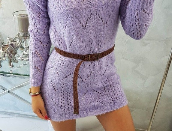 Roo Hollow Out Knitted Jumper Dress With Belt