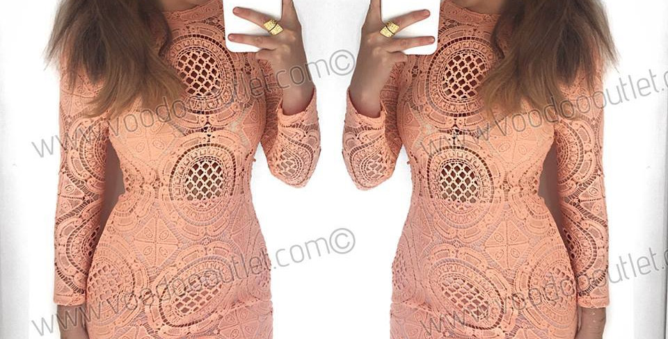 SALE Lilly Coral Crochet Bodycon Dress