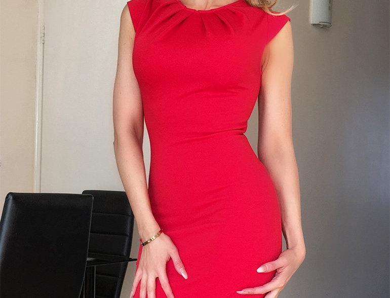 Kate Basic Sophisticated Ruched Neck Midi Dress
