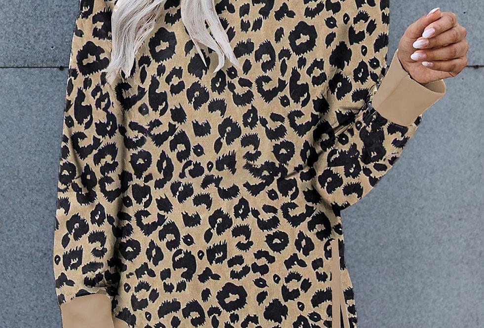 Abs Long Sleeve Leopard Print Sweater