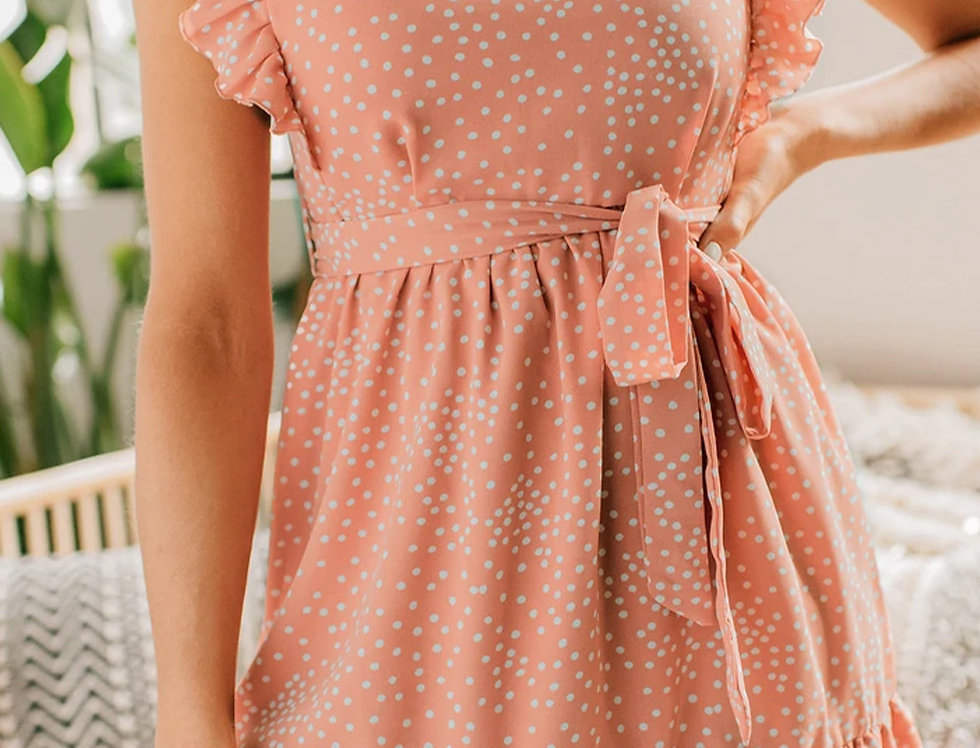 Milly Peachy Polka Dot Belted Wrap Frill Dress