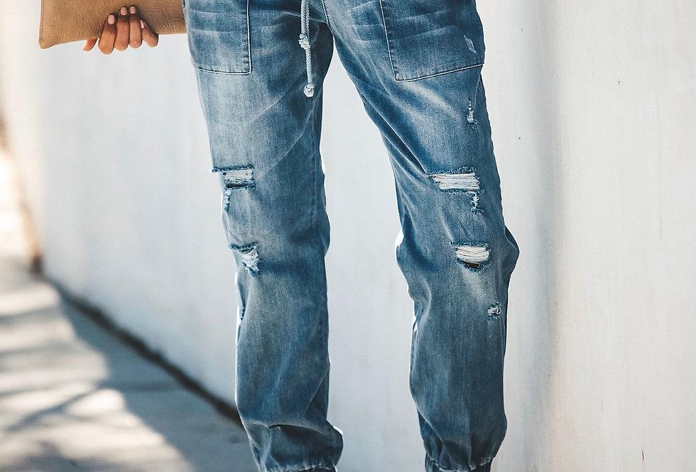Drawstring Distressed Stretchy Ankle Denim Jeans
