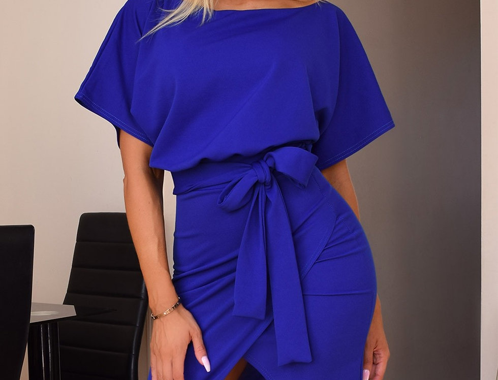 Judith Blue Belted Bodycon Dress