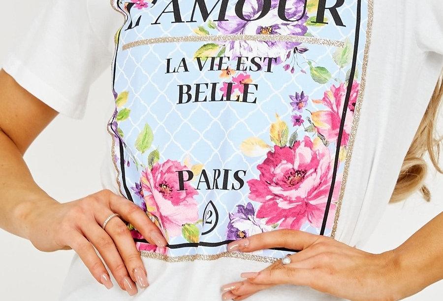 L'Amour Floral Print Slogan T-shirt