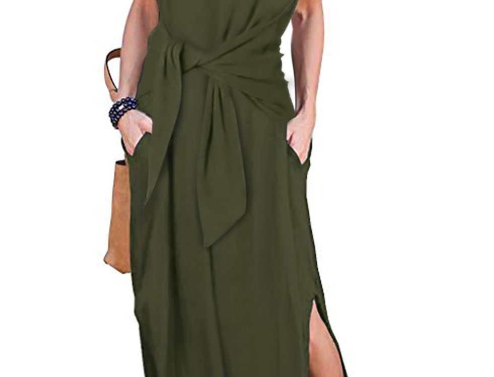 Harriet Wrap Belted Boho Maxi Dress