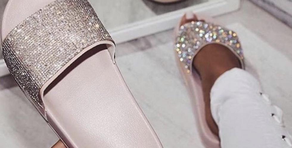 Embellished Silver Sliders
